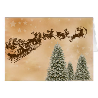 Merry Christmas Greeting Card with flying Santa