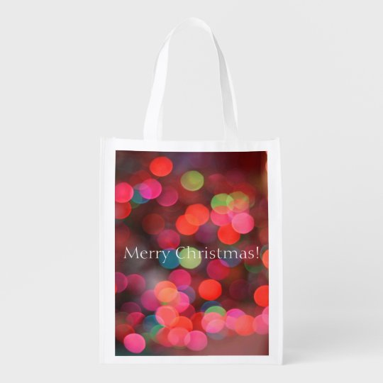 Merry Christmas Greeting Colourful Bokeh Lights Reusable Grocery Bag
