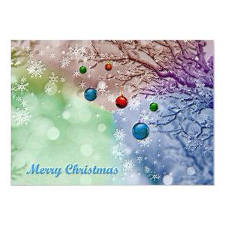 Merry Christmas Greeting Winter Scene 13 Cm X 18 Cm Invitation Card