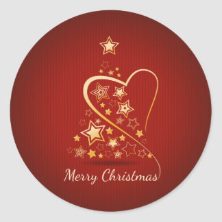 Merry Christmas greeting with golden ornaments Round Sticker