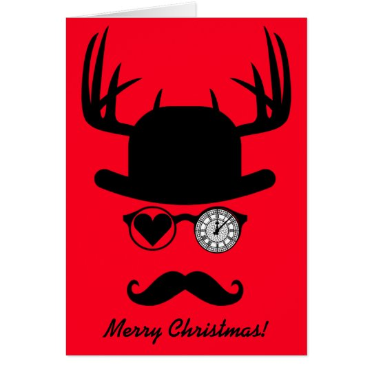 Merry Christmas Greetings Moustache Big Ben London Card