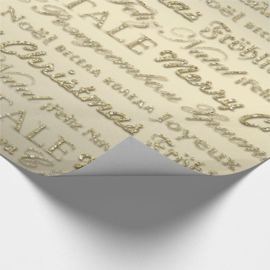 Merry Christmas Greetings Multi-Languages Gold Wrapping Paper