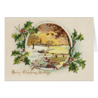 Merry Christmas Greetings Vintage Greeting Card