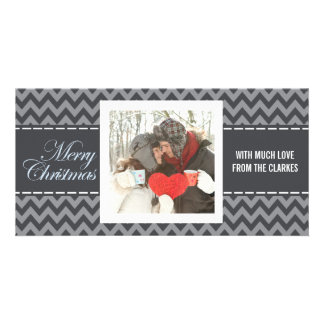 Merry Christmas Grey Chevron Photo Greeting Card