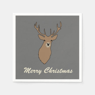 Merry Christmas Grey Party Napkins Serviettes Disposable Napkin