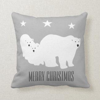 Merry Christmas Grey Polar Bears Cushion Pillow