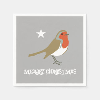 Merry Christmas Grey Red Robin Napkins Serviettes Disposable Serviette