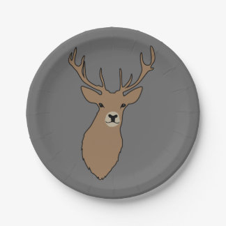 Merry Christmas Grey Reindeer Paper Party Plates