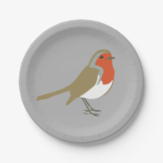 Merry Christmas Grey Robin Bird Paper Party Plates