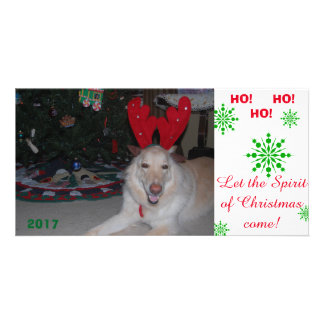 Merry Christmas GSD German Shepherd card funny Photo Card Template