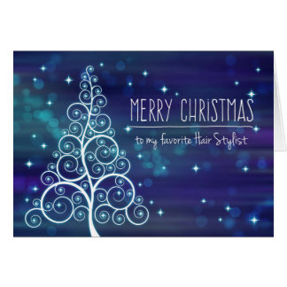 Merry Christmas Hair Stylist, Bokeh Effect & Tree Card