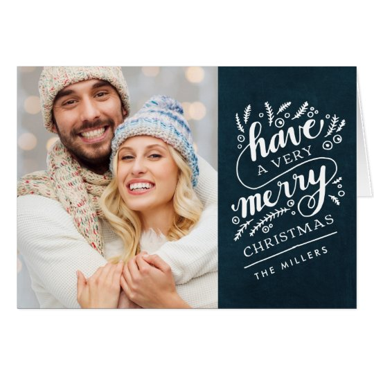 Merry Christmas Hand Lettered Navy Chalkboard Card