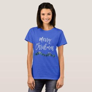 Merry Christmas Hand Lettered Script Garland T-Shirt