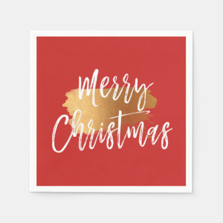 Merry Christmas Hand Lettered Script with Gold Paper Napkin