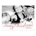 Merry Christmas Hand Script Photo Postcard