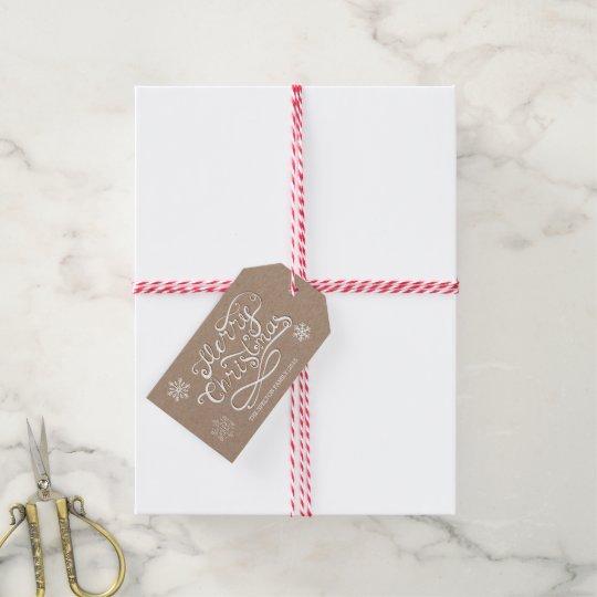 Merry Christmas handwritten white snowflake modern Gift Tags