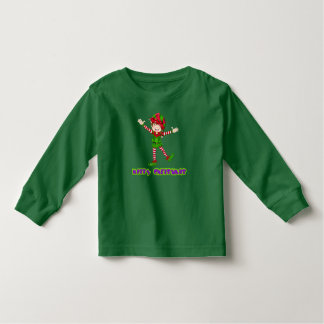 Merry Christmas Happy Elf Holiday Long Sleeve Toddler T-Shirt