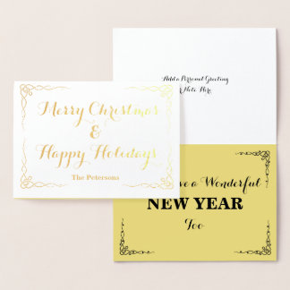Merry Christmas & Happy Holidays with Name - Foil Card