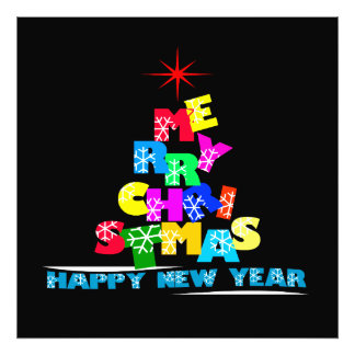 Merry Christmas Happy New Year Black Photo Print