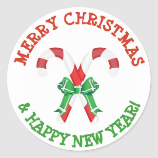 Merry Christmas Happy New Year Candy Cane Stickers