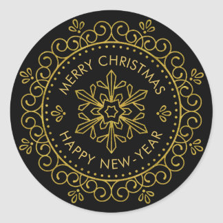 Merry Christmas Happy New Year Gold Circle Frame Classic Round Sticker