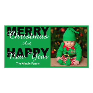 Merry Christmas & Happy New Year Green Photo Card