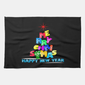 Merry Christmas Happy New Year Kitchen Towels