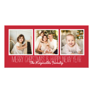 Merry Christmas Happy New Year Red 3 Photo Overlay Card