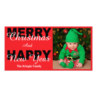 Merry Christmas & Happy New Year Red Photo Card