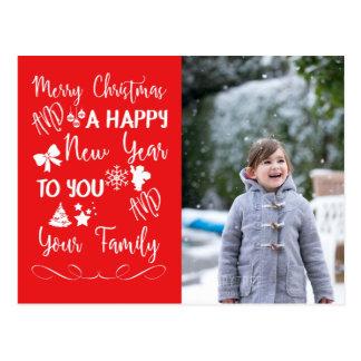 Merry Christmas Happy New Year Script Photo Postcard