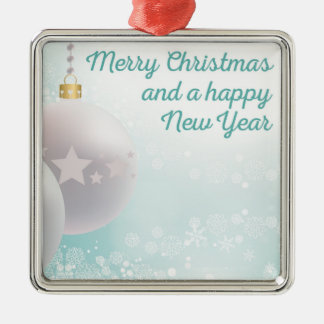 Merry Christmas, happy new year Silver-Colored Square Decoration