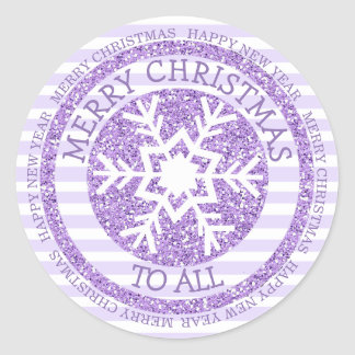 Merry Christmas Happy New Year Snowflake Sticker
