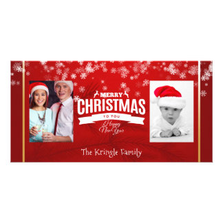 Merry Christmas Happy New Year Snowflakes Photo Card
