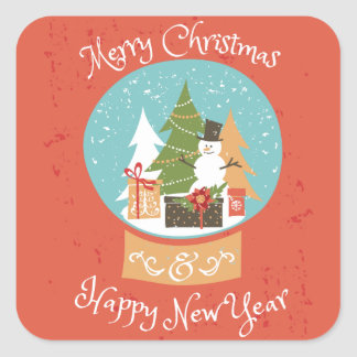 Merry Christmas Happy New Year Square Sticker