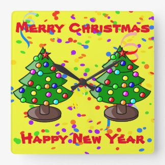 Merry Christmas & Happy New Year Square Wall Clock