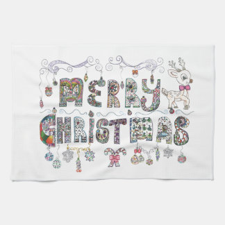 Merry Christmas Happy New Year Kitchen Towel