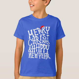 Merry Christmas Happy New Year Typography Text T-Shirt