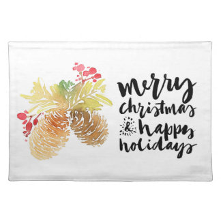 Merry Christmas & Happy New Year Watercolor Placemat