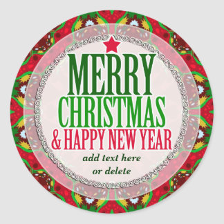 Merry Christmas Happy NewYear Round Sticker