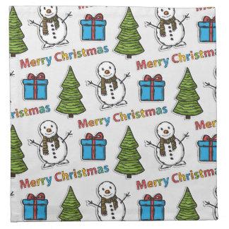 Merry Christmas Happy Snowman Napkin
