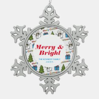Merry Christmas Happy Snowman Snowflake Pewter Christmas Ornament