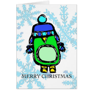 merry christmas - hat & mittens penguin note card