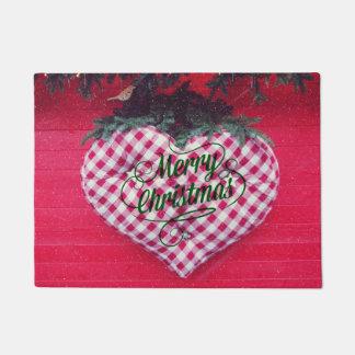 Merry Christmas Heart Doormat