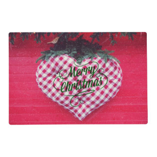 Merry Christmas Heart Laminated Placemat