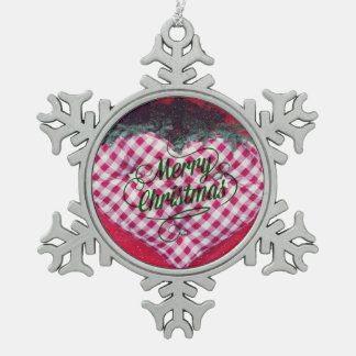 Merry Christmas Heart Pewter Snowflake Decoration