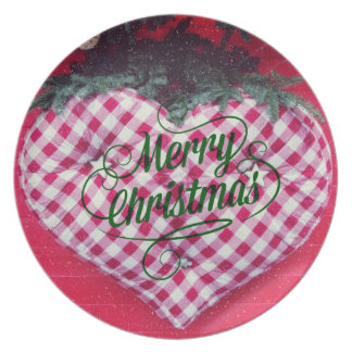 Merry Christmas Heart Plate