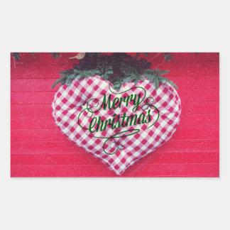 Merry Christmas Heart Rectangular Sticker