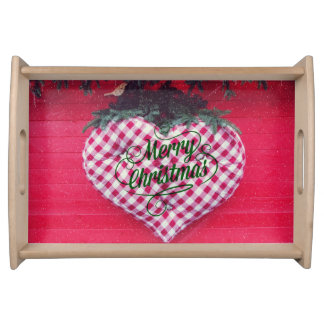 Merry Christmas Heart Service Trays