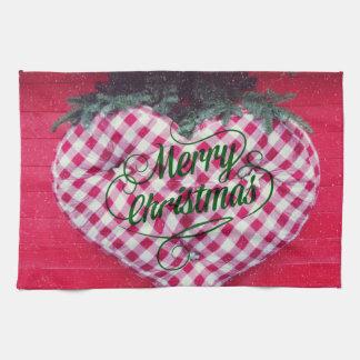 Merry Christmas Heart Tea Towel