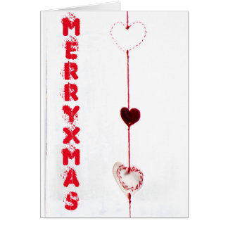 Merry christmas hearts card